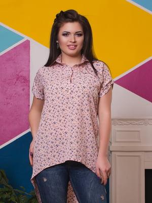 Блуза цвета пудры в цветочный принт | 3315455