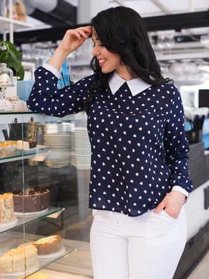 Блуза темно-синяя в принт | 4614063