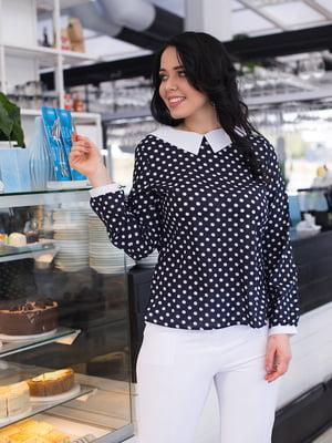 Блуза темно-синя в горошок | 4614064