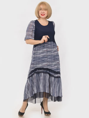 Сукня темно-синя в принт | 4950462