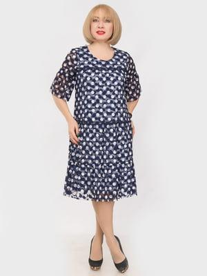 Платье темно-синее в горох | 4950482