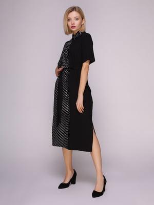 Сукня-сорочка чорна в горох | 4951628