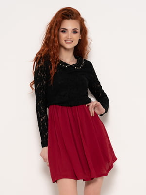 Платье черно-бордовое | 4950839