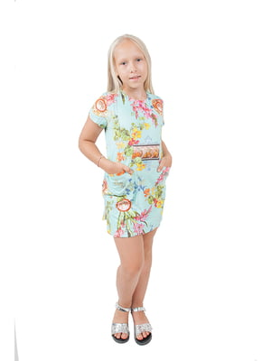Сукня м'ятного кольору в принт | 4823595