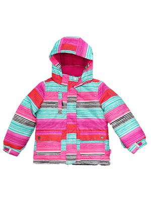 Куртка рожева в принт | 4952217