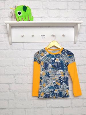 Лонгслив сине-желтый с принтом | 4952233