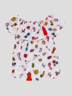 Блуза біла в принт   4781505