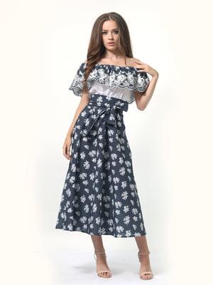 Сукня в квітковий принт з поясом | 4958176