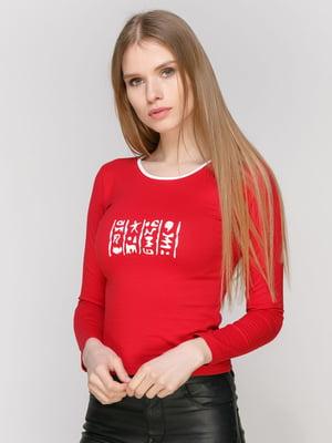 Лонгслив красный с принтом | 4931724
