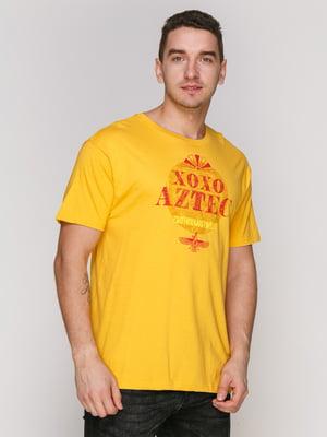 Футболка жовта з принтом | 4855401