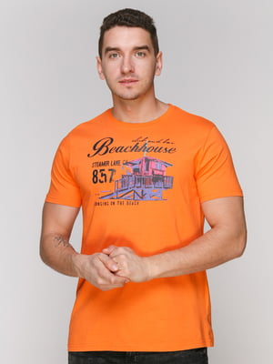 Футболка помаранчева з принтом   4854935