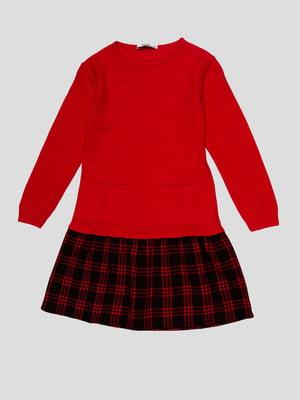 Сукня червона зі спідницею в клітинку   4676795