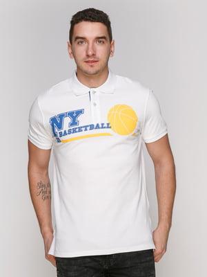 Футболка-поло белая с принтом | 4854942