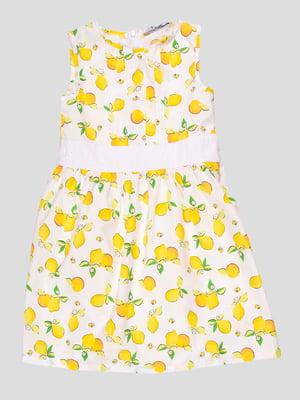 Платье белое в принт | 4676771