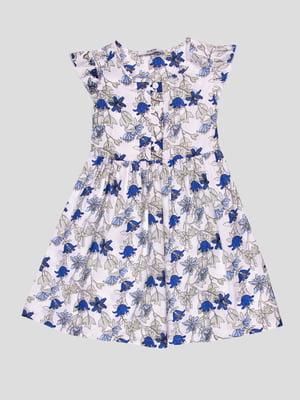 Сарафан белый в синий принт | 4676774