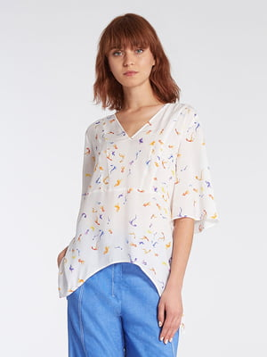 Блуза біла в принт | 4965602