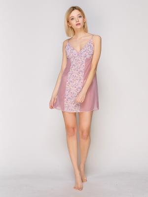 Рубашка ночная фиолетовая с цветочным принтом | 1379477