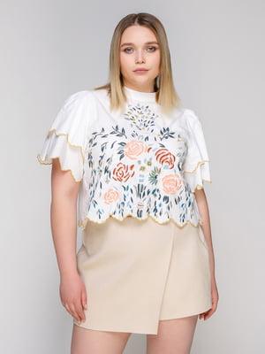Блуза белая с вышивкой   4876109