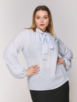 Блуза голубая в горох | 4950634