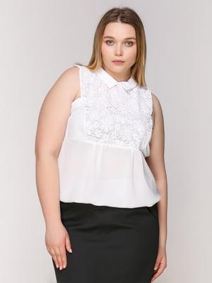 Блуза белая с кружевом | 1656297