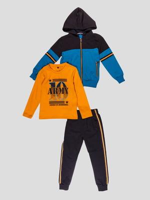 Комплект: штани, лонгслів і толстовка | 4948667