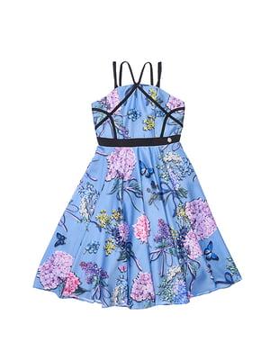 Сукня блакитна у принт | 4971344