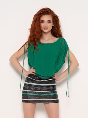 Сукня зелена з принтом | 4971178