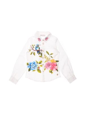 Сорочка біла з квітковим принтом | 4971326