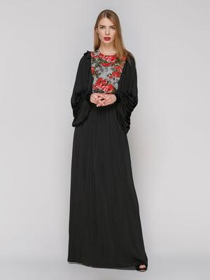 Сукня чорна з контрастним оздобленням | 4911283