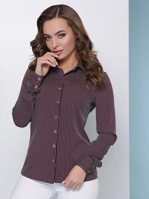 Рубашка баклажанного цвета в полоску | 4975777