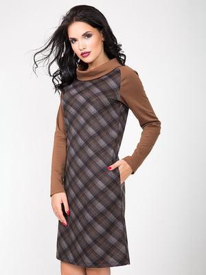 Платье коричневое в клетку | 4977572