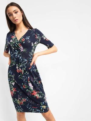 Сукня синя в квітковий принт | 4977931