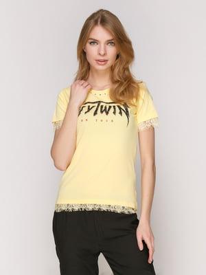 Футболка жовта з принтом | 4965769