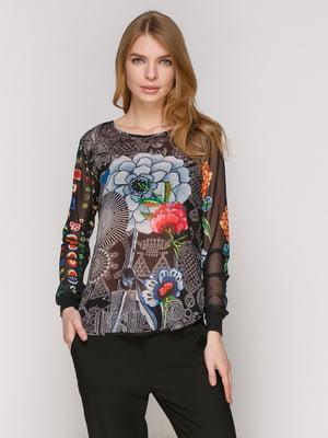 Блуза чорна в принт | 4965732