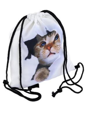 Рюкзак белый с принтом | 4978450