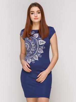 Сукня синя з принтом | 4965720
