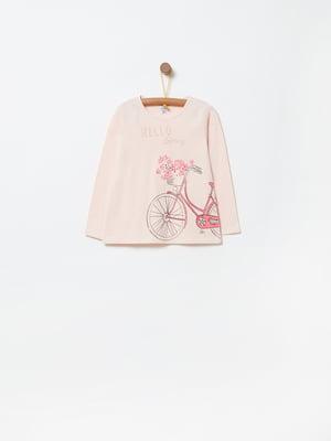 Лонгслив розовый с принтом | 4970276