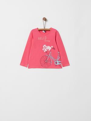 Лонгслив розовый с принтом | 4970277