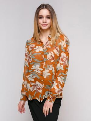 Сорочка коричнева в квітковий принт | 4959274
