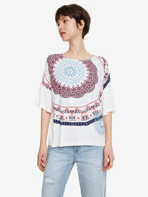 Блуза белая с принтом | 4983114