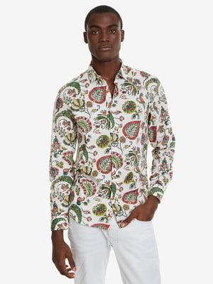 Рубашка белая в принт | 4983034