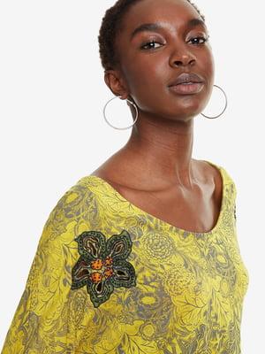 Блуза желтая с принтом | 4983113