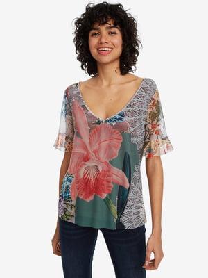 Блуза в цветочный принт | 4983130