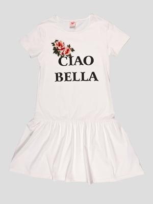 Сукня біла в принт | 4979803