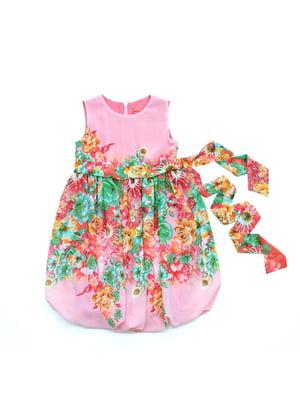 Сукня рожева з квітковим принтом | 4901377