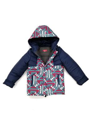 Куртка синяя с принтом | 4977145