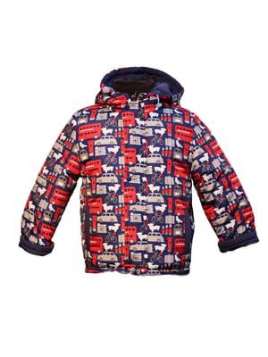 Куртка синяя с принтом | 4986316
