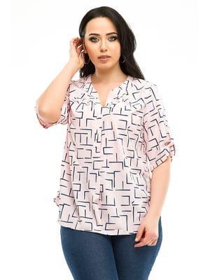 Блуза розовая в принт | 5010603