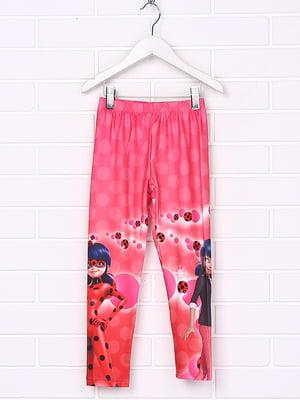 Леггинсы розовые с принтом | 4985170