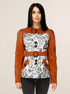 Куртка кольору охри з принтом | 4979826
